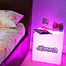 Personalised bedside cube - lit pink
