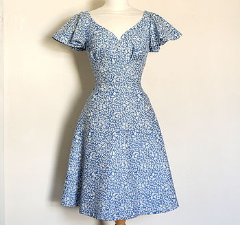 Floral Cotton Sweetheart Tea Dress With Butterfly Sleeves