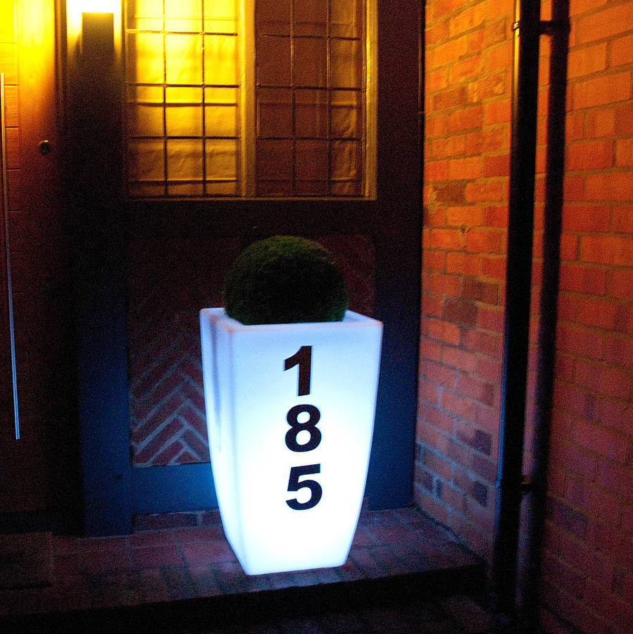 Outdoor Planter With House Number Light