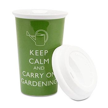 'Keep Calm And Carry On Gardening' Travel Mug
