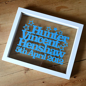 Baby Name And Birth Date Personalised Papercut