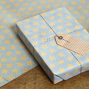 Two Pk Stars Gift Wrap Set - cards & wrap