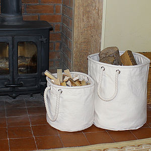Natural Canvas Log And Kindling Basket - home accessories
