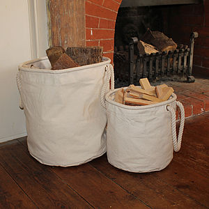 Natural Canvas Log And Kindling Basket - fireplace accessories