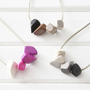 Ombre Polygons Eco Friendly Wood Necklace