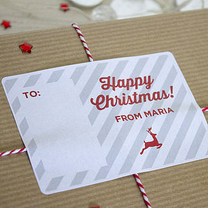 Personalised Rectangular Christmas Stickers - cards & wrap