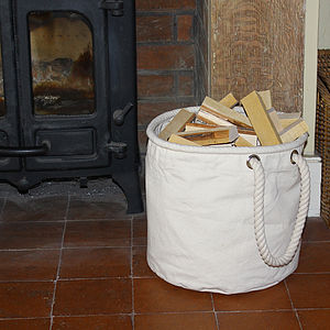 Natural Canvas Kindling Basket - fireplace accessories