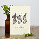 Hand Printed Christmas Stockings Card