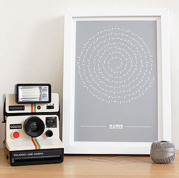Personalised Secret Message Morse Moon Print