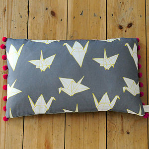 Cranes Pom Pom Trim Rectangular Cushion - bedroom