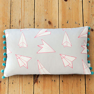 Planes Pom Pom Trim Rectangular Cushion - cushions