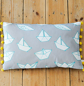 Boats Pom Pom Trim Rectangular Cushion - cushions