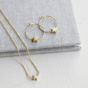 Petite Star Hoop Earrings And Necklace - wedding jewellery