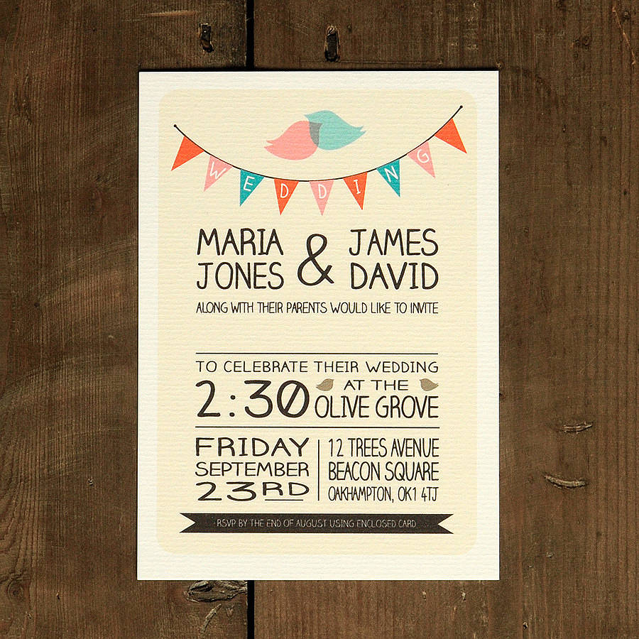 whimsical lovebirds wedding invitation by feel good wedding