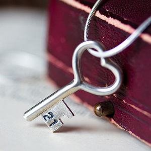 Personalised 21st Silver Key Necklace - for her