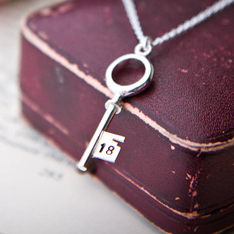 Personalised 18th Silver Key Necklace By Sarah Lawrence