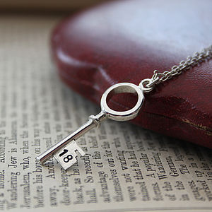 Personalised 18th Silver Key Necklace