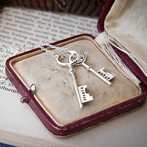 Personalised Double Silver Key Necklace