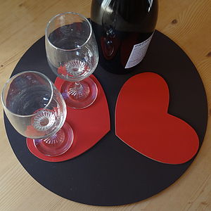 Set Of Two Leather Heart Coasters