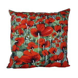Blowing Poppies Red Cushion Cover - cushions
