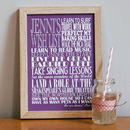 Small - White text - Purple background - Personalised Wishes Print