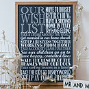 Large navy Personalised Wishes Print