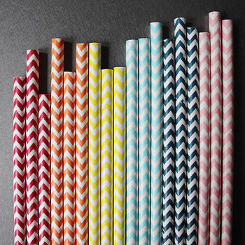 Chevron Striped Paper Straws