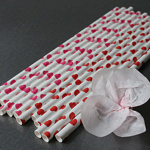 Heart Paper Straws - table decorations