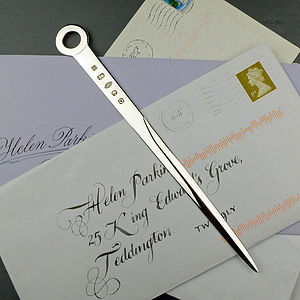 Solid Silver Letter Opener - 60th birthday gifts