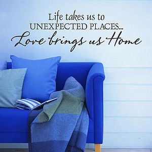 Love Brings Us Home Wall Sticker Quote - office & study