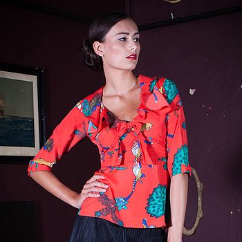 Grace Tea Blouse Poppy Red