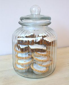 Large Ridged Glass Biscuit Jar - jars