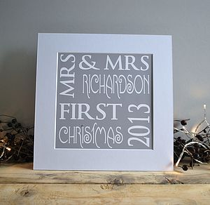 Mr And Mrs First Christmas Print