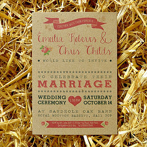 Vintage Country Kraft Wedding Invitation - invitations