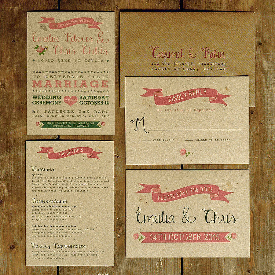 Vintage country kraft wedding invitation by feel good wedding vintage country kraft wedding invitation suite stopboris Images