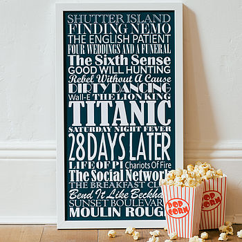 Large - White text - Navy Blue background - Personalised Top Twenty Films Print