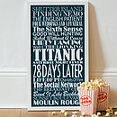 Large navy blue Personalised Top Twenty Films Print