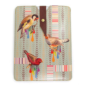 Leather Bird And Stripe iPad Mini Case