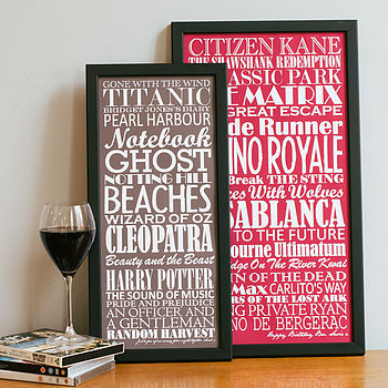 Small and large Merlot Personalised Top Twenty Films Print