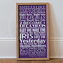 Large Purple Personalised Top Twenty Songs Print