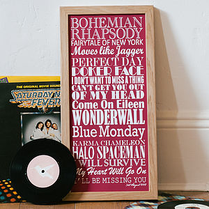 Personalised 'Top Twenty Songs' Print