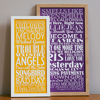 Small and large Purple Personalised Top Twenty Songs Print