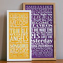 Small yellow and large purple Personalised Top Twenty Songs Print