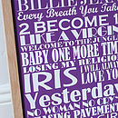 Large Personalised Top Twenty Songs Print