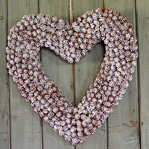 Hanging Frosty Cone Heart Wreath - outdoor decorations