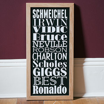 Small black Personalised Football Dream Team Print