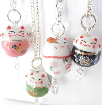 Lucky Fortune Cat Porcelain Charm Necklace