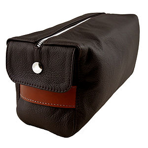 Chocolate Hand Crafted Leather Wash Bag - make-up & wash bags