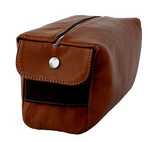 Tan Hand Crafted Leather Wash Bag - make-up & wash bags