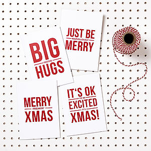 Pack Of Four Funny Christmas Cards